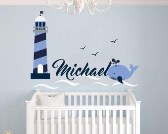 Lighthouse wall decal etsy for Wandbilder babyzimmer junge