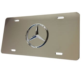 License Plate for Mercedes with Three Pointed Star - Brushed Aluminum