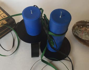 Blueberry Scented Soy Wax Pillar Candles