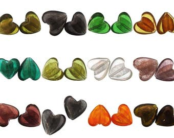5 Silver Foil Glass Beads 30mm Large Heart Shaped Puff Pendant Lampwork Choice