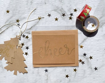 Gold Embossed Christmas Cards (4 Pack)