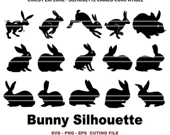 Bunny Silhouette - Rabbit Silhouette - 65 designs 195 eps png svg files 300 dpi