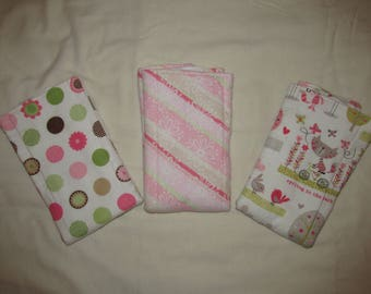 Girl Burp Clothes- Set of 3