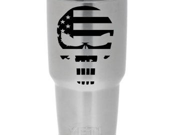 Punisher Flag for Yeti, Ozark Trail, ORCA, Tumbler, Rambler, Auto (Decal Only)