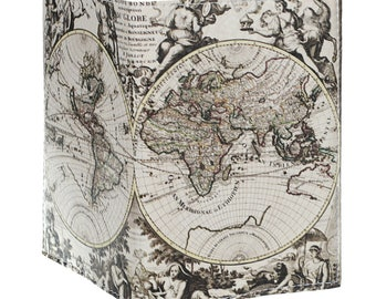 Case Passport leather - old map of the world