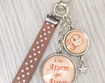 Keychain bag charm message theme has a home which ensures your light apricot. REF.114