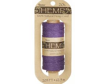 Hemp Cord Spool, Purple, 20lb Weight, 205 feet (62.5m), 100% Natural