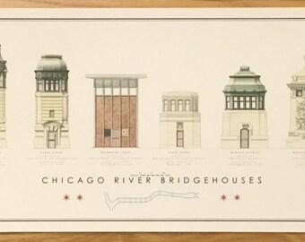 Poster Print - Chicago River Bridgehouses