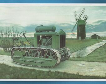Clayton Shuttleworth Tractor Print, John Appleyard Artwork Book Plate Print