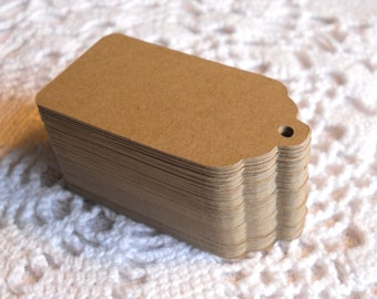 Medium size 50 scalloped tags labels Kraft American 4 cm * 7 cm