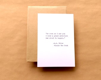 Winnie The Pooh Typewriter Quote Card 4x6