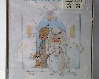 Vintage 1995 Precious Moments Wedding Announcement Cards with Envelopes, New In Package, Set of 25 Cards + 25 Envelopes, From Hallmark Cards