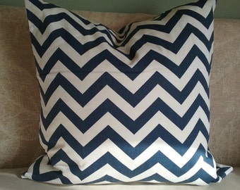 Blue chevron pillow cover, pillow cover, dark denim blue, chevron, blue & cream, decorative pillow, accent pillow, throw pillow, home decor