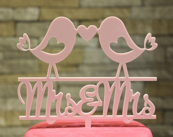 Mrs & Mrs Lovebirds Cake Topper