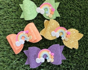 Handmade Rainbow glitter hairbows - pastel - pink - peach - mint - lilac - lemon - girlshairbows
