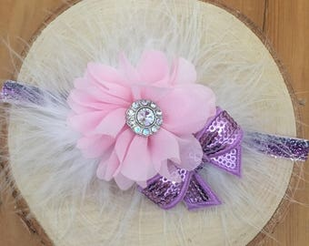 Pink Baby Headband, Newborn Headband, Baby Hairbow, Infant Headband, Toddler Headband, Flower Headband, Girls Headband, Purple Headband