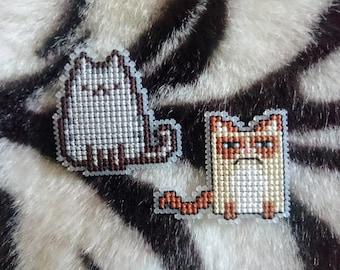 Cross Stitch Grumpy Cat and Pusheen Badges