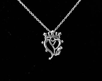 Handcast 925 Sterling Silver Scottish Luckenbooth Thistle Heart Pendant + Free Chain