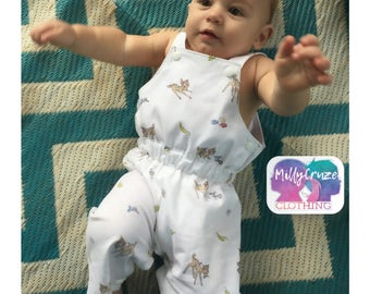Bambi and thumper size 00 Romper /Overalls dungaree for boy or girl baby shower
