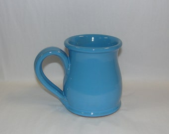 Deneen Pottery Round Belly Handmade Coffee Mug- Glazed in Powder Blue