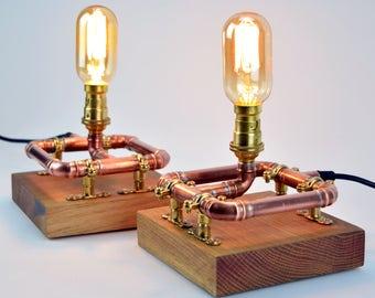 A Pair - Industrial Copper Pipe - Table Lamps - Bedside Lights - Reclaimed Oak Blocks
