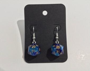 Blue Swirl Mini D20 Dice Earrings with Stainless Steel Hooks