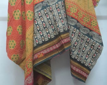 Twin Size Handmade Kantha Quilt, Vintage Reversible Sari Throw, Cotton Kantha Blanket, Ralli Gudri, Kantha Bed Cover, Bed Sheet
