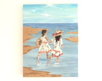 Young Girls Exploring the Beach in Seashell Mosaic & Sand