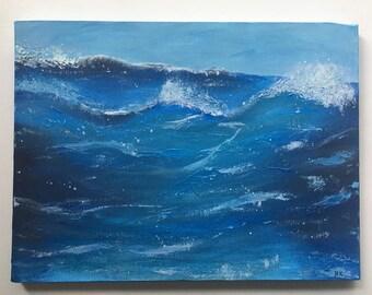 "Original Acrylic Wave Painting 12x16"""