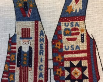 Fabric panel vest -Americana Childs Vest by Dreamspinners