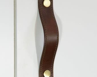 Alderney Stitched Brown Leather Door Pull