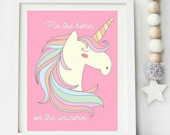 Pin the horn on the unicorn / party game / unicorn party games