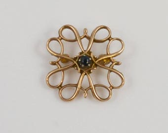 10k Yellow Gold Vintage Open Work Pin/brooch(01140)