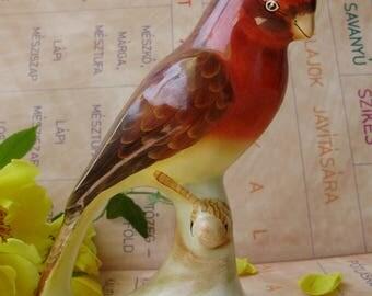 Large,Vintage Hungarian porcelain bird  figurine,parrot,handpainted