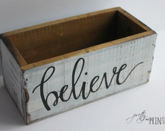 Hand Lettered Rustic Wooden Box