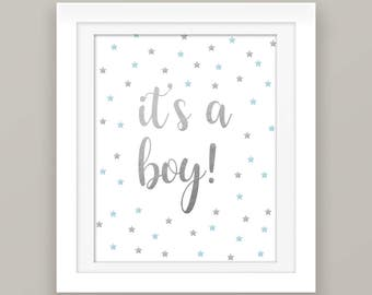 Blue and Gray Baby Boy Party Decorations - Its A Boy Sign - Gender Reveal - Baby Shower Decorations - Printable Party Sign - Baby Decor