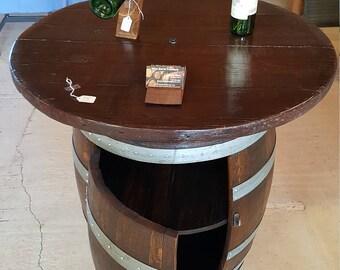 Wine Barrel Bistro Table and Bar on Wheels Storage