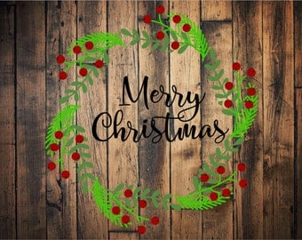 Merry Christmas Wreath SVG/PNG
