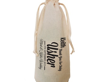 Personalised Usher thank you wine bottle bag. Change any of the text for your message. By Inspirecreativedesign