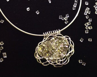 The Central pendant in sterling silver with pyrite, and Choker.