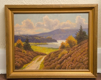 Finn Wennerwald Landscape Painting, Oil on Canvas- Road and Lake Scene-Listed Artist, Great Color!