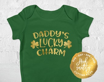 Daddy's Lucky Charm SVG DXF Cutting File, St Patrick's Day Svg Dxf Cut File, Saint Patrick's Day Svg Cutting File, Lucky Svg Dxf Cut File