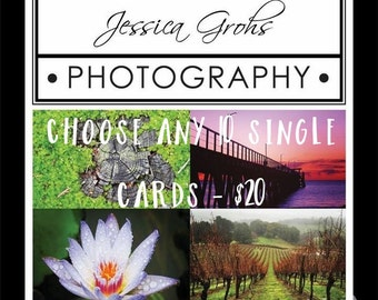 Handmade Photo Cards - Choose any 10 Single Cards - SKU JGPx10