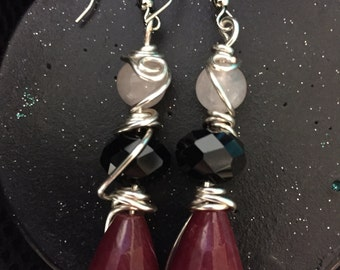 Red Jade and Rose quartz wire wrapped earrings :)