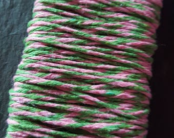 Pink & green bakers twine, 2mm Bakers twine, Bakers twine, 8ply Bakers twine, Craft twine, Craft string, Pink and green, Pink, Green