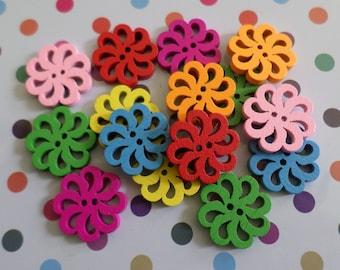 18mm wooden flower buttons, Wooden buttons, Flower buttons, Craft buttons, Sewing buttons, Scrapbooking buttons, Buttons, Flowers, Floral