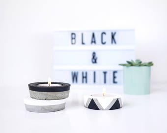 Round concrete candle holder, minimalist candleholder, graphic tealight, cement candle holder, black white industrial decor, pure decoration