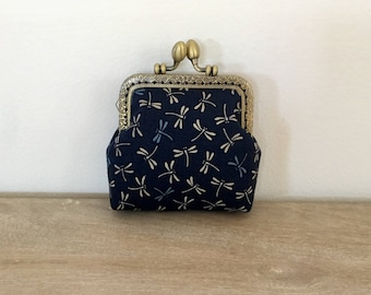 Purse retro clasp DRAGONFLIES, accessories women, fabric Japanese Navy Blue