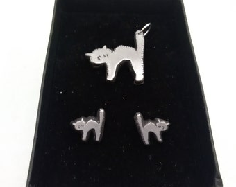 cat pendant and earrings set