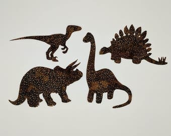 """Dinosaurs, Pre fused and laser cut """"Hoffman Chocolate Dot"""" applique embellishment, assortment of four dinosaur applique embellishment"""